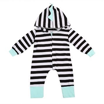 Spring Autumn born Baby Girl boy Clothes Striped Hooded Romper Zipper Jumpsuit Bodysuit Outfit One-piece