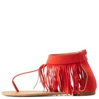 Tangerine Fringe Ankle Cuff Thong Sandals by Charlotte Russe