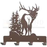 7in. Metal Wall Hooks - Country Music - Elk - Rust