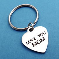 LOVE YOU MOM, Heart, Keychain, I love you mom, Keyring, Simple, Modern, Gift, Key chain, Key ring, Mom, Mother, Gift, Jewelry, Accessory