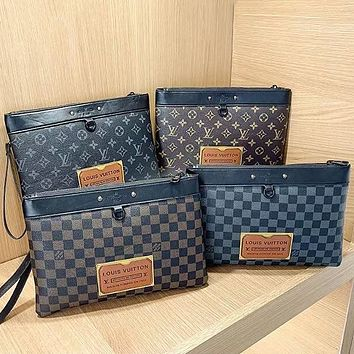 LV Louis Vuitton new product stitching color letter printing ladies envelope bag cosmetic bag clutch