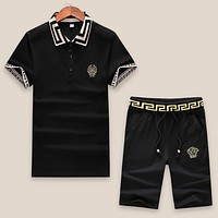 VERSACE Shirt Top Tee Shorts Set Two-Piece Black