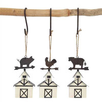 Set of 3 Country Barn Holiday Ornaments with Metal Animal Weathervanes (Pig, Rooster, Cow) 5-in