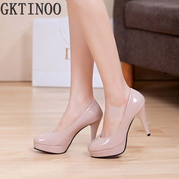 Solid color japanned leather platform round toe high heels shallow mouth thin heels work women shoes red bride wedding shoes