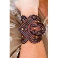 In the Saddle Leather Bracelet Cuff - Brown