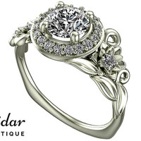 Diamond Engagement Ring,Unique Engagement Ring,White Gold Ring,Flower Engagement Ring,Vintage Ring,Leaves Ring,Floral Ring,Lotus Ring
