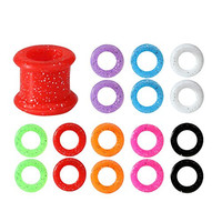 16 Pieces Silicone Tunnel Plug 00G Kit Sparkles Double Flare 10mm, 00 Gauge (...