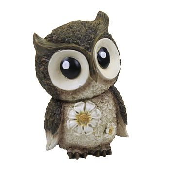 Home & Garden Mini Owl Painted Critter Flowers Wise Eyes - 12316
