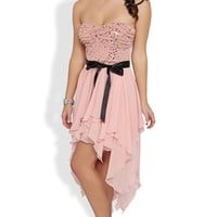 Strapless Two Tone Short Homecoming Dress with Hanky Hem Skirt