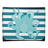Octopus Blue Bold Stripes Leather Wallet