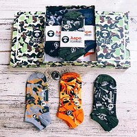 BAPE AAPE Popular Women Men Casual Embroidery Camouflage Comfortable Breathable Pure Cotton Sport Socks - Boxed