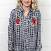 Soft Plaid w/ Embroidery Details Button Down {Navy Mix}