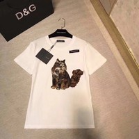 """Gucci"" Women Simple Casual Embroidery Cat Pattern Short Sleeve Round Neck T-shirt Top Tee"
