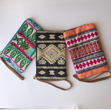 clutch wristlet wallet pouch ethnic bold beaded bag