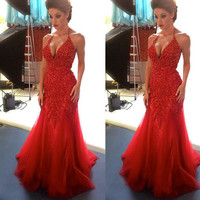 Hot Sale Red Tulle Mermaid Prom Dresses Long 2017 Evening Gowns Halter Sexy Off Shoulder Appliques Beaded For Formal Party Gowns
