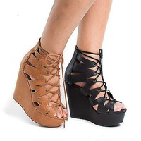 Akela By Delicious, Peep Toe Cut Out Gladiator Lace Up Platform Wedge Heel Sandals