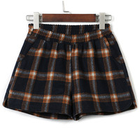 Black And Orange Plaid Elastic Waist Woolen Shorts