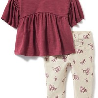 2-Piece Peasant Blouse and Patterned Pants Set for Baby | Old Navy