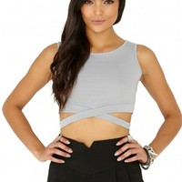 Missguided - Latrecia Sleeveless Bandage Waist Crop Top In Silver Grey