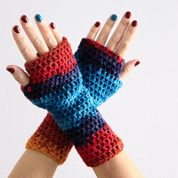 Turquoise and red shades fingerless gloves, Danae, for women or teenagers, vegan friendly