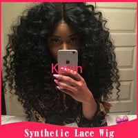2015 New Afro Kinky Curly Lace Front Wigs Long Black Synthetic Lace Front Wig Cute High Quality Synthetic Wigs For Black Woman