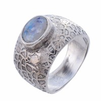 Arvino Sterling Silver Ring with Rainbow Moon Stone