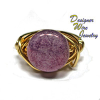 DWJ0241 Stunning Czech Luster Wisteria Purple Gold Wire Wrapped Ring All Sizes
