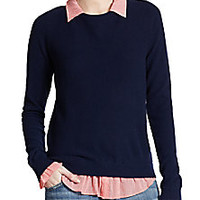 Joie - Zhen Cotton/Cashmere Layered-Effect Sweater - Saks Fifth Avenue Mobile