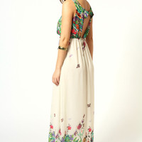 Amie Floral Butterfly Print Bow Back Maxi Dress
