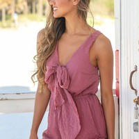 Dusty Mauve Romper with Front Tie