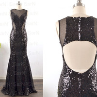 Sequin Mermaid Prom Dresses, Straps Long Black Sequin Mermaid Formal Gown, Long Sequin Evening Dresses, Black Sequin Long Prom Gown
