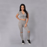 Grey V-Neck Zippered Crop Top with Ripped Leggings