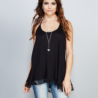 Lace-Trim Ribbed Knit Tunic | Wet Seal