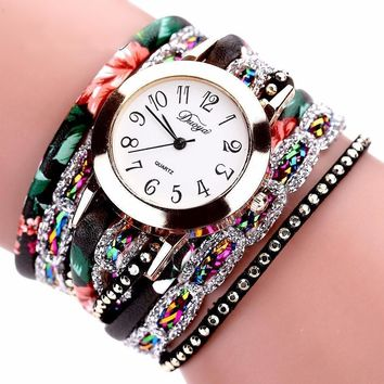 Stainless Steel Floral Crystal Studded Wrap Bracelet Watch