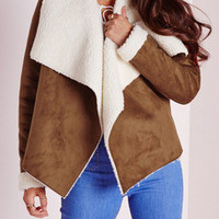 Khaki Long Sleeve Lapel Jacket