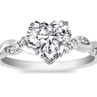 1.50ct Heart Shape Diamond Engagement Ring GIA CERTIFIED JEWELFORME BLUE