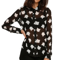 Chiffon Cat Print Top