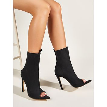 Peep Toe Stiletto Heeled Boots