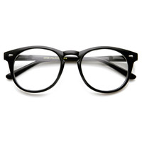 Classic Round P3 Horn Rimmed Style Clear Lens Eye Glasses