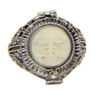 Balinese Bone Sterling Silver 925 Poison Ring, Pill Box Ring