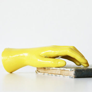 Need a Hand - Vintage Mannequin Hand - Yellow - Neon - Pastel - Summer - Home Decor - Humor