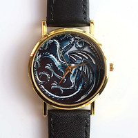 Game Of Thrones Dragons Gold Case Quartz Watch For Men and Women = 1956598148
