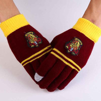 HOT NEW Fashion Harry Potter Gryffindor Series Knit Winter Warm Gloves Deathly Hallows Costume
