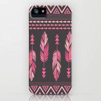 Painted Feathers-Gray iPhone & iPod Case by Bohemian Gypsy Jane | Society6