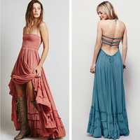 """Free People"" Fashion Solid Color Sleeveless Backless Hollow Halter Irregular Ruffle Maxi Dress"