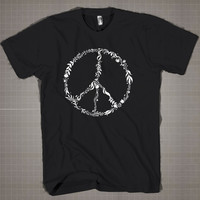 Peace Symbol Sign American Apparel Nature  Mens and Women T-Shirt Available Color Black And White