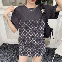 Louis Vuitton LV Presbyopia Gradient Short Sleeve Loose Couple Top T-shirt