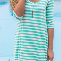 Follow Your Heart Mint Striped V-Neck Long Sleeve Dress