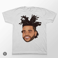 The Weeknd Head White Unisex T-Shirt - Sizes - Medium Large