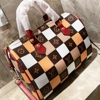 LV Louis Vuitton New fashion tartan monogram leather shoulder bag women crossbody bag handbag